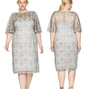 drianna Papell Metallic bell sleeve Lace Dress